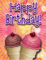 Ice Cream Cones Cherries Small Birthday Card