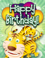 Tigers Small Birthday Card